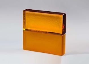 full glass brick golden amber